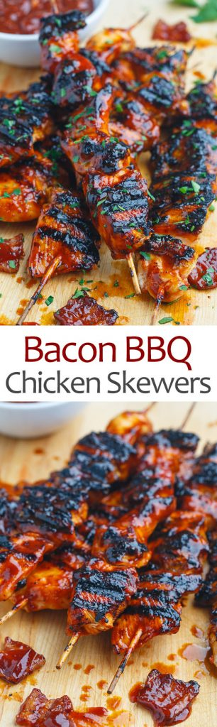 Bacon BBQ Chicken Skewers
