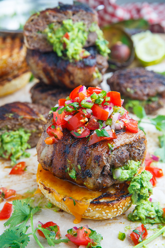 Bacon Wrapped Guacamole Stuffed Burgers