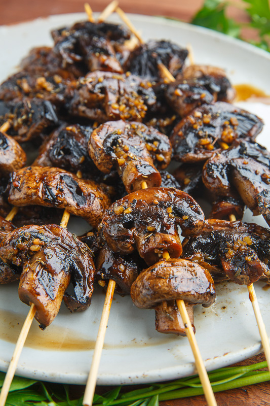 Balsamic Garlic Grilled Mushroom Skewers