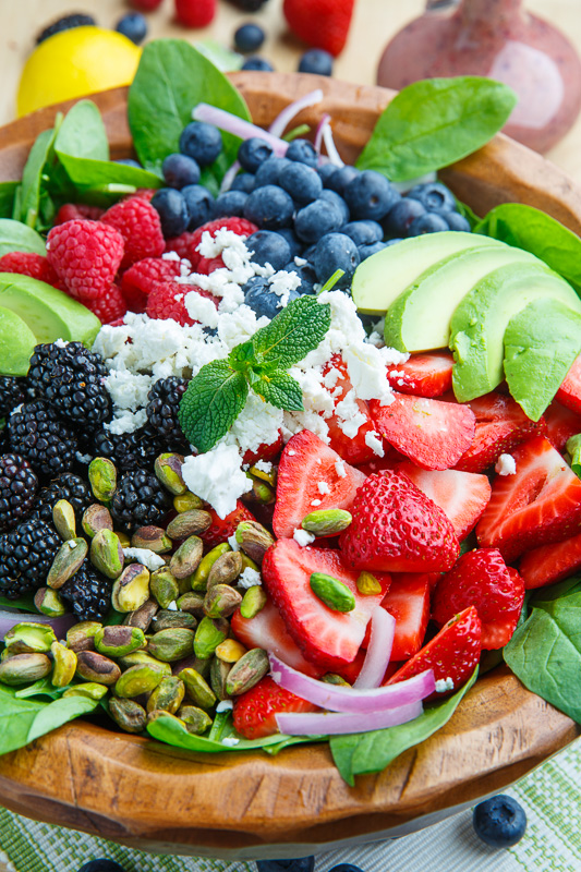 Berry and Avocado Spinach Salad with Feta and Pistachios in a Creamy Berry Poppy Seed Dressing
