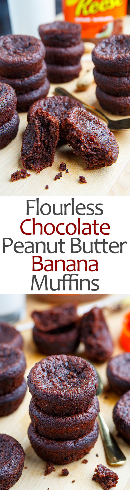 Flourless Chocolate Peanut Butter and Banana Muffins