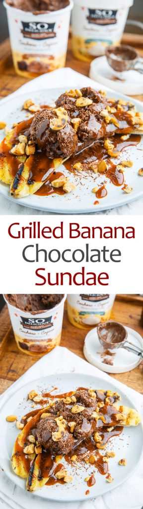 Grilled Banana Chocolate Sundaes with Caramel Sauce