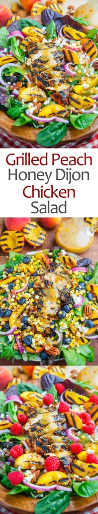 Grilled Peach and Honey Dijon Chicken Salad with Goat Cheese and Pecans