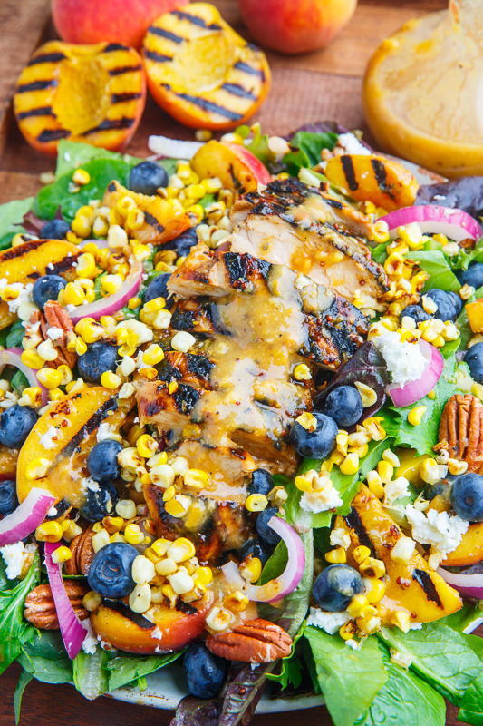 Grilled Peach and Honey Dijon Chicken Salad with Blueberries, Grilled Corn, Goat Cheese and Pecans