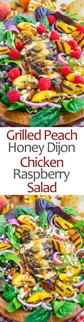Grilled Peach and Honey Dijon Chicken Salad with Raspberries, Goat Cheese and Pecans