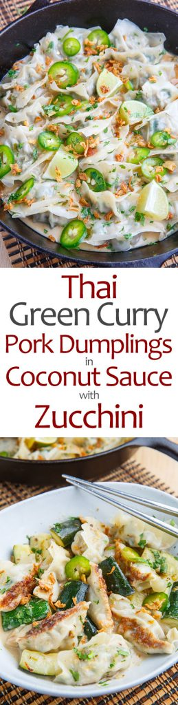 Thai Green Curry Pork Dumplings in Coconut Sauce with Zucchini