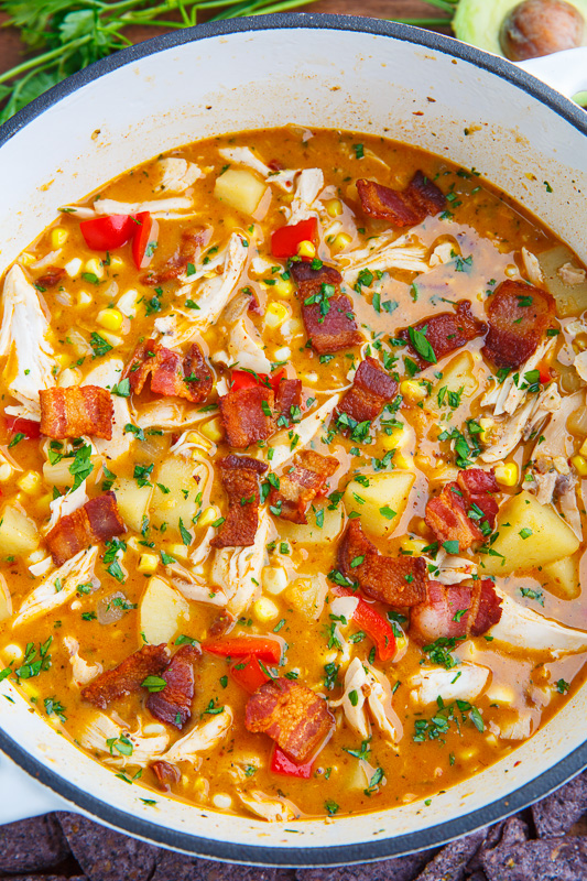 Chipotle Chicken and Corn Bacon Chowder