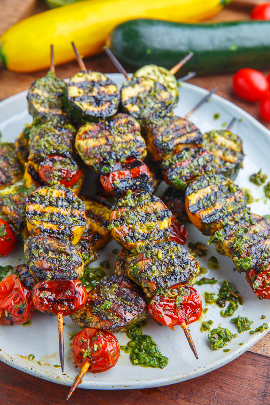 Pesto Grilled Chicken, Zucchini and Tomato Skewers