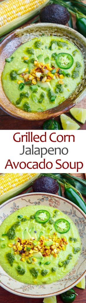 Spicy Roasted Corn and Jalapeno Avocado Soup