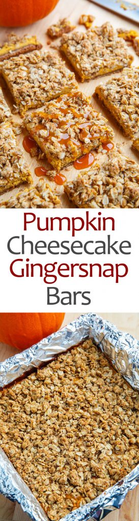 Caramel Pumpkin Cheesecake Gingersnap Streusel Bars