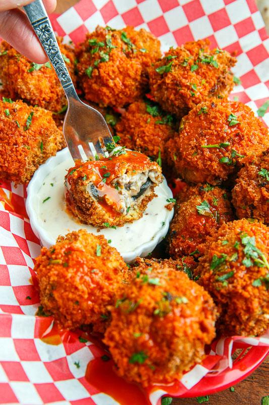 Cheesy Buffalo Mushroom Poppers