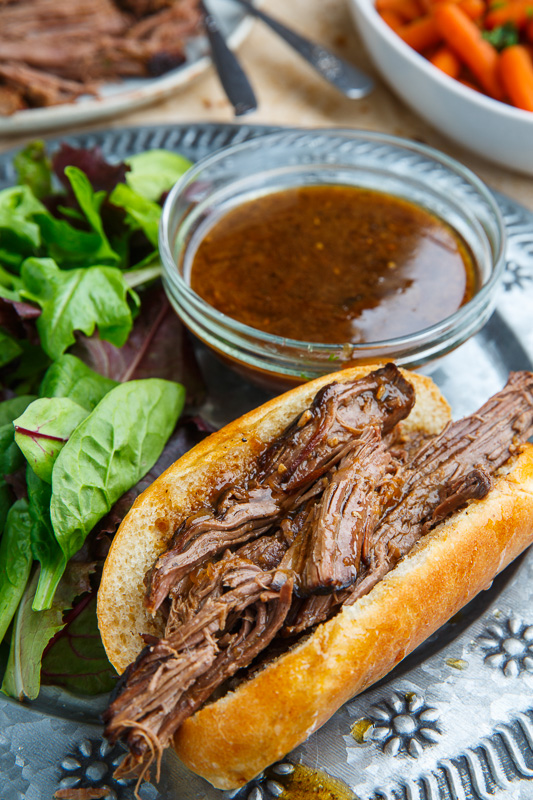 Slow Cooker Balsamic Roast Beef French Dip Sandwich
