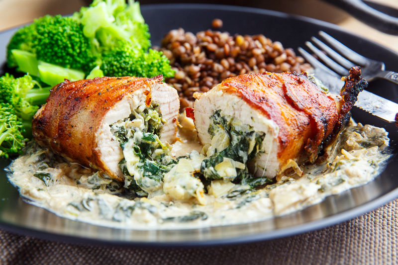 Bacon Wrapped Spinach and Artichoke Stuffed Chicken