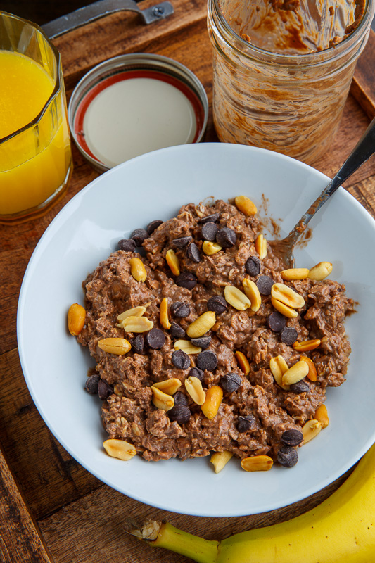 Chocolate and Peanut Butter Overnight Oatmeal