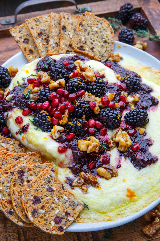 Baked Brie with Blackberry Compote and Candied Walnuts