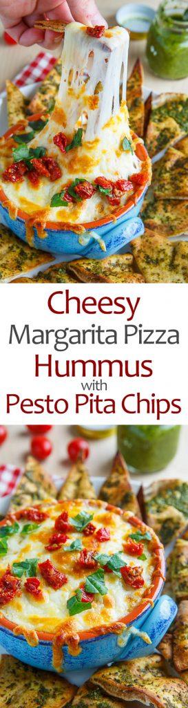 Cheesy Margherita Pizza Hummus with Pesto Pita Chips