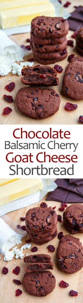 Chocolate Cherry Balsamic Goat Cheese Shortbread