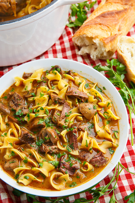 Slow Braised Beef Stroganoff Soup