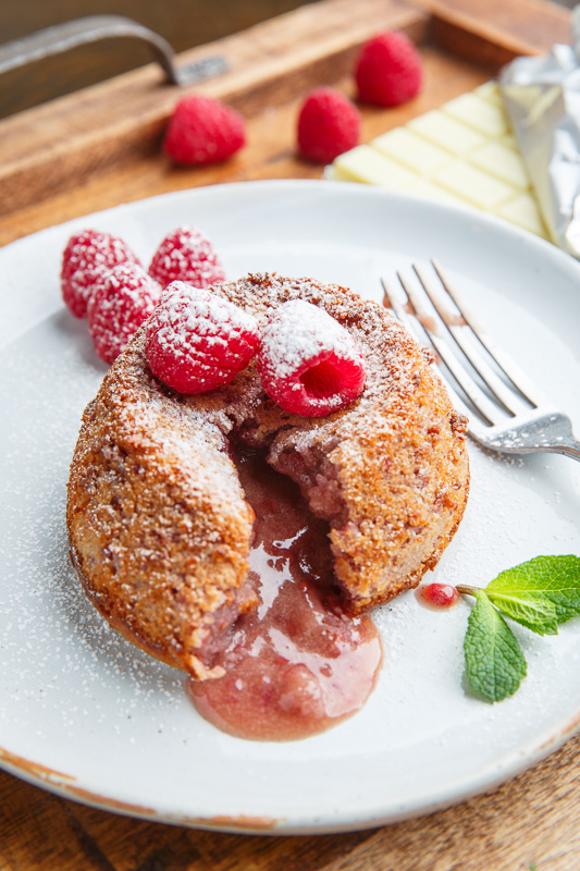 Raspberry White Chocolate Lava Cakes