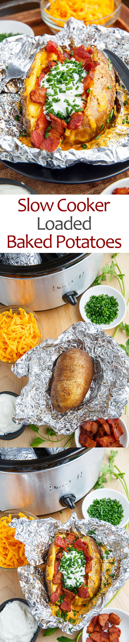 Slow Cooker Loaded Baked Potatoes
