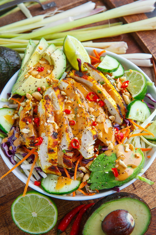 Thai Lemongrass Chicken and Avocado Salad with Spicy Peanut Dressing