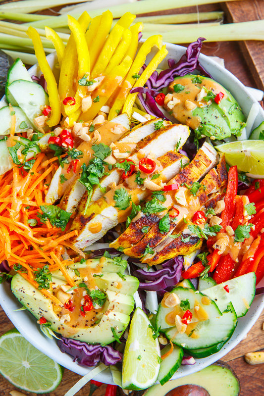 Thai Lemongrass Chicken And Avocado Salad With Spicy Peanut Dressing Closet Cooking