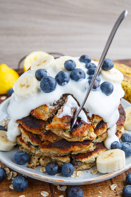 Blueberry Banana Oatmeal Pancakes