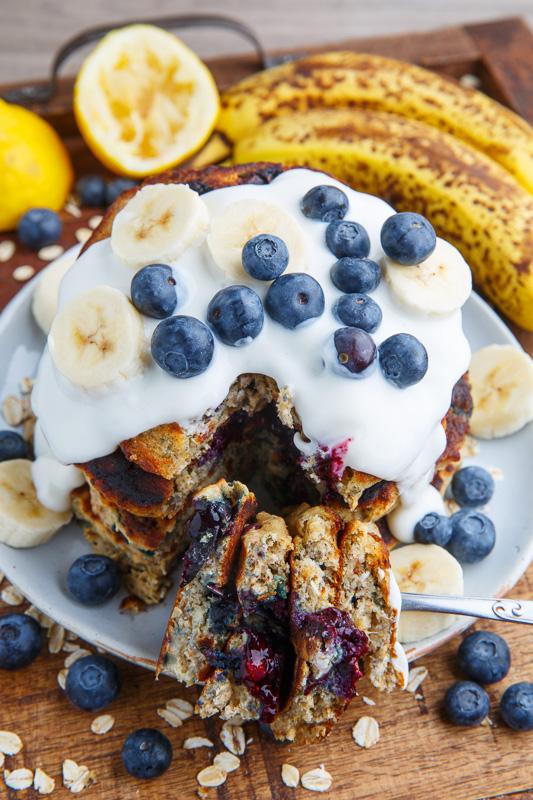 Blueberry Banana Oatmeal Pancakes