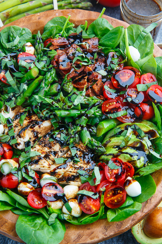 Grilled Chicken and Asparagus Caprese Spinach Salad with Bacon and Avocado
