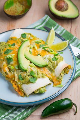 Chicken and Avocado Enchiladas in Creamy Avocado Sauce