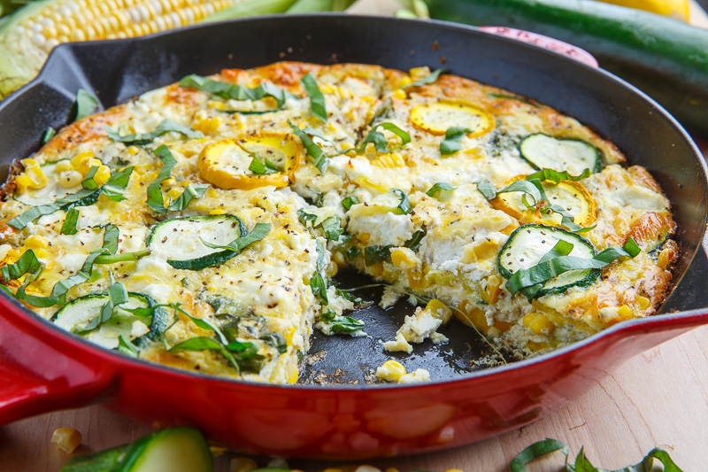 Corn and Zucchini Goat Cheese Quiche with Lemon and Basil