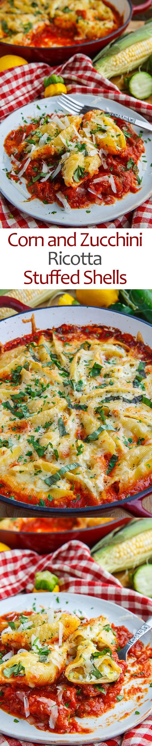 Corn and Zucchini Ricotta Stuffed Shells