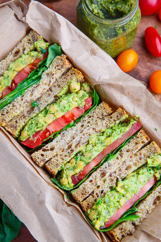 Pesto Smashed Chickpea and Avocado Sandwich