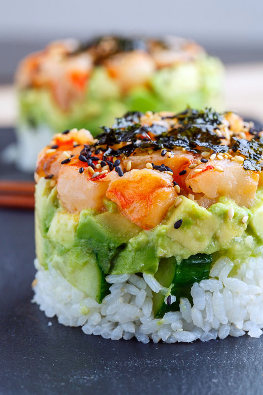 Spicy Shrimp Sushi Stacks Closet Cooking