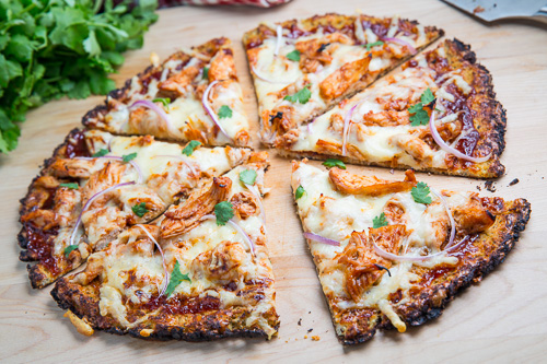 Cauliflower Pizza Crust (with BBQ Chicken Pizza)