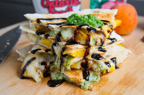Peach, Chicken and Gorgonzola Balsamic Quesadillas with Arugula Pesto