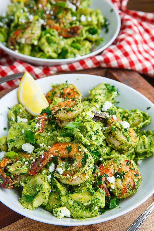 Spinach Pesto, Feta and Shrimp Tortellini