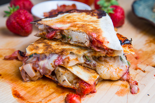 Strawberry Balsamic Grilled Chicken and Bacon Quesadillas