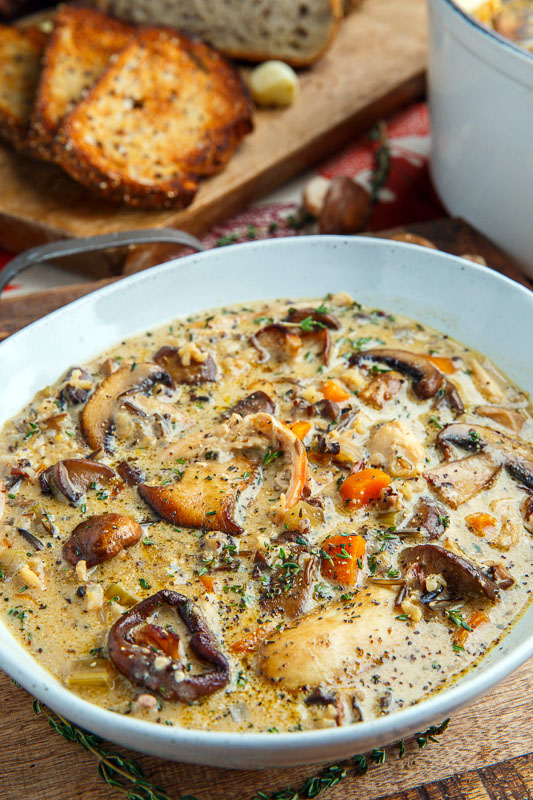 Creamy Mushroom Chicken and Wild Rice Soup