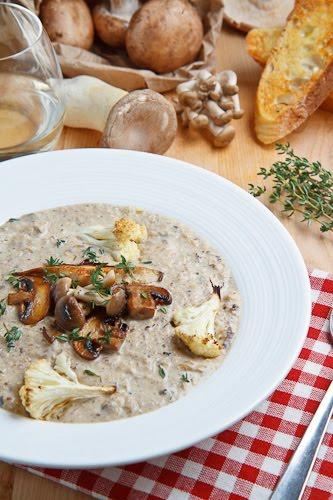 Creamy Mushroom and Roasted Cauliflower Soup