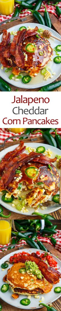 Jalapeno and Cheddar Corn Pancakes with Bacon (aka Jalapeno Popper Pancakes)