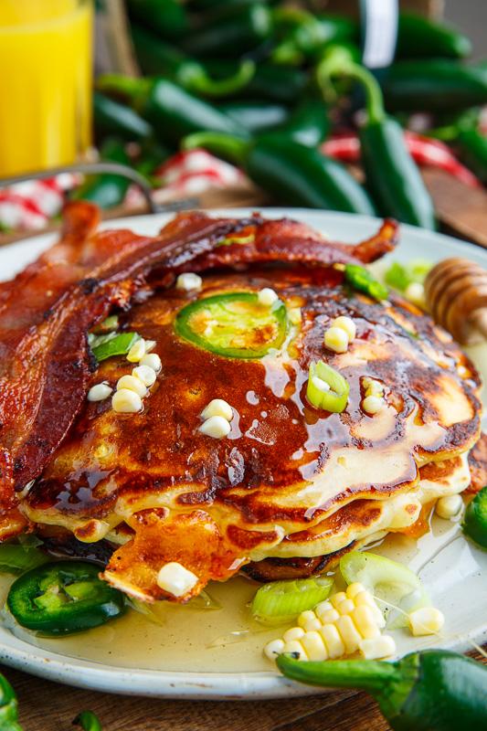 Jalapeno and Cheddar Corn Pancakes with Bacon (aka Jalapeno Popper Pancakes)
