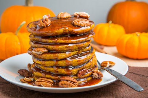 Pumpkin Pie Pancakes (with Caramel Sauce)