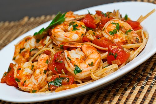 Shrimp Linguine in a Tomato and White Wine Sauce