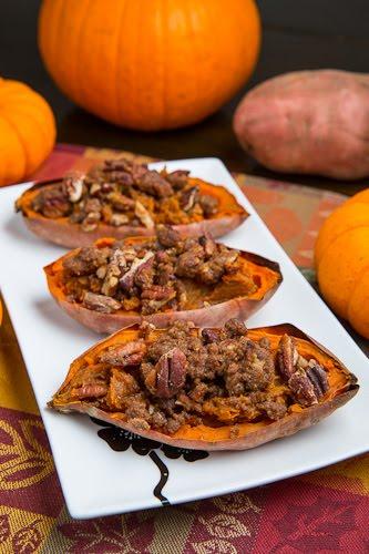 Twice Baked Sweet Potato Potato Skins with Pecan Streusel (aka Individual Sweet Potato Casserole)