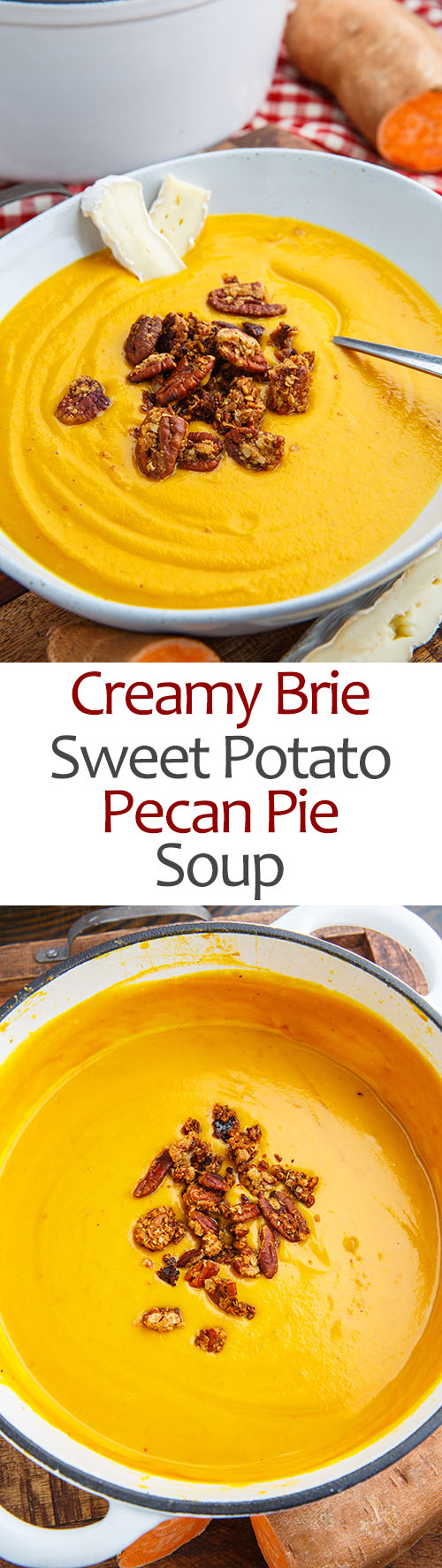Creamy Brie Sweet Potato Pecan Pie Soup