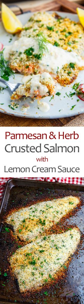 Parmesan and Herb Crusted Salmon with Lemon Cream Sauce