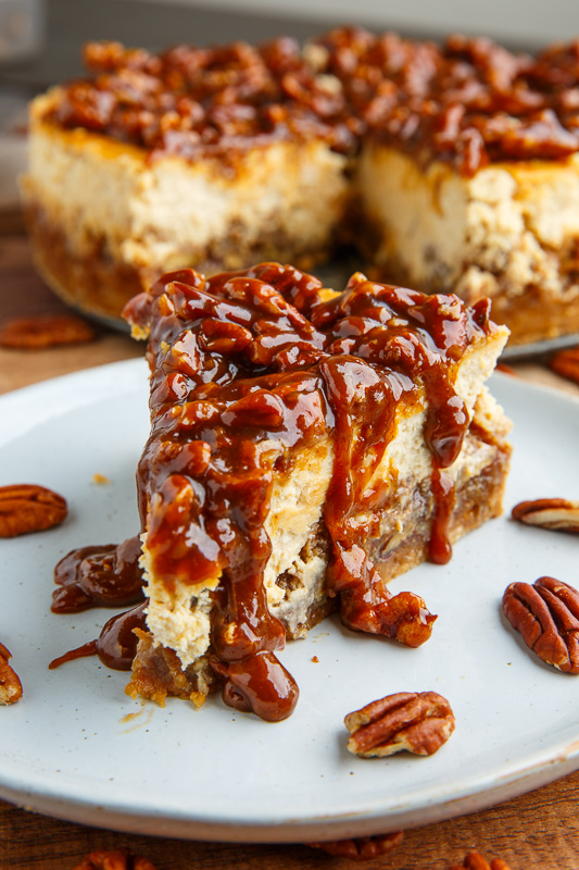 Pecan Pie Cheesecake with Pecan Caramel Sauce