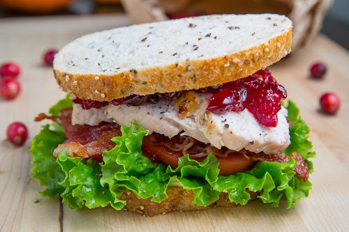 Roast Turkey Club Sandwich with Cranberry Sauce