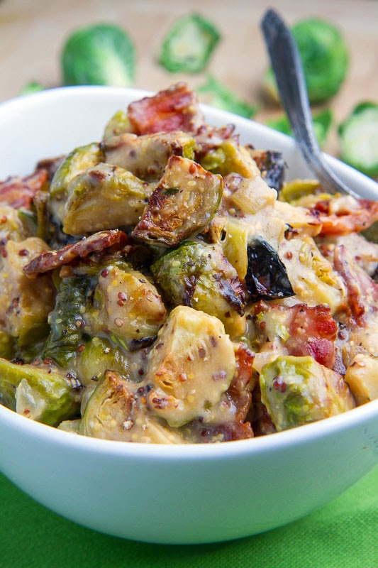 Roasted Brussels Sprouts and Bacon in a Mustard Cream Sauce